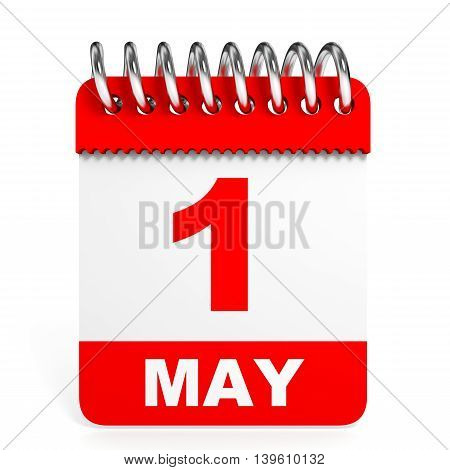 Calendar On White Background. 1 May.