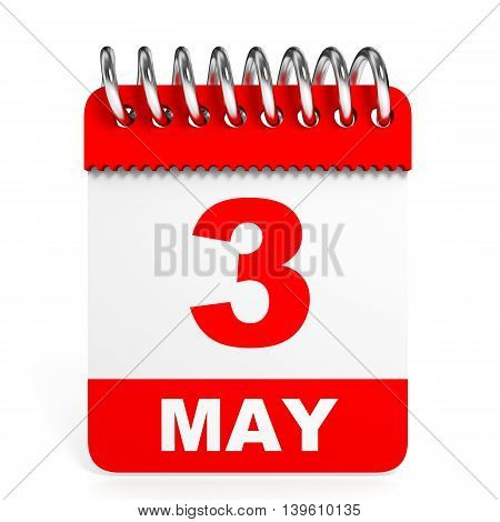 Calendar On White Background. 3 May.
