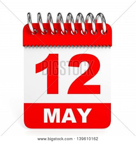 Calendar On White Background. 12 May.
