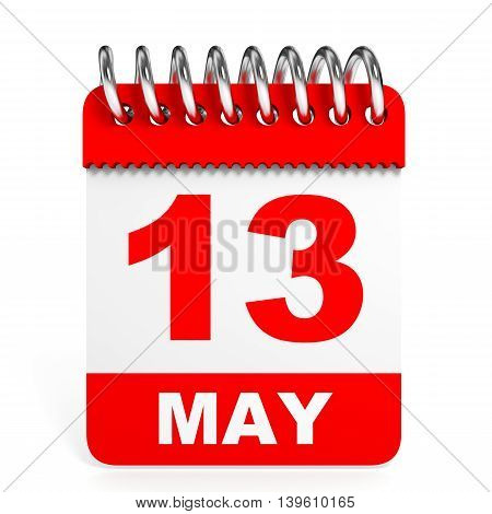 Calendar On White Background. 13 May.
