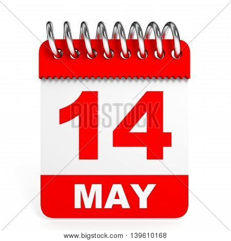 Calendar On White Background. 14 May.