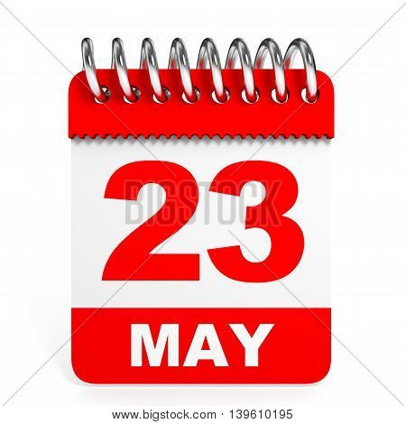 Calendar On White Background. 23 May.