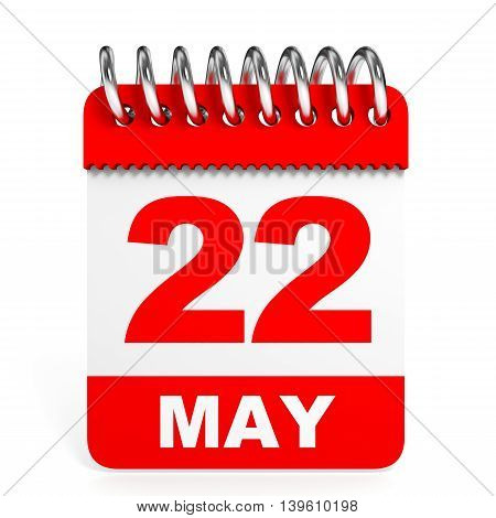 Calendar On White Background. 22 May.