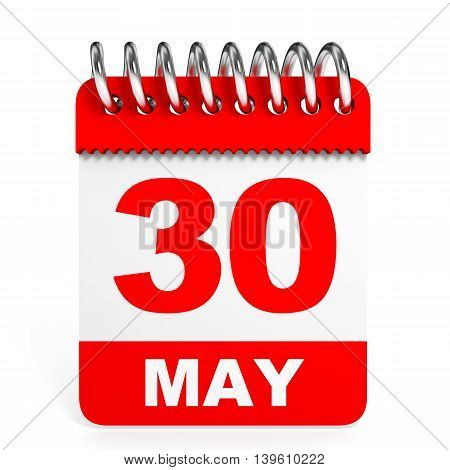 Calendar On White Background. 30 May.