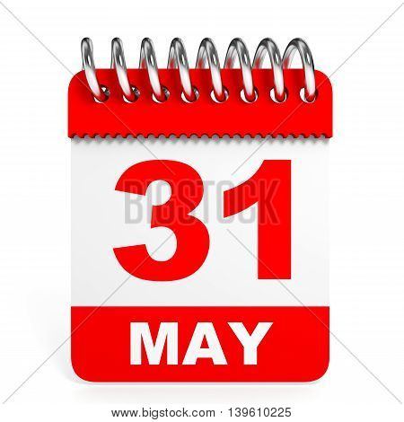 Calendar On White Background. 31 May.