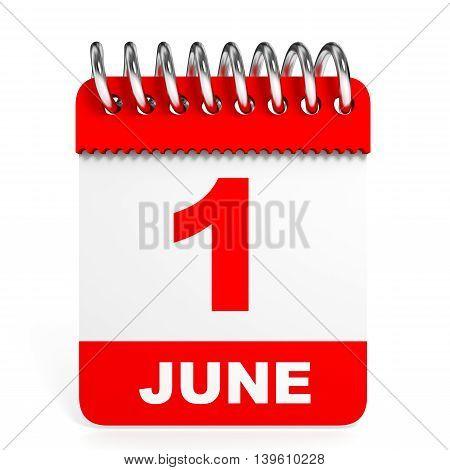 Calendar On White Background. 1 June.