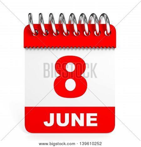 Calendar On White Background. 8 June.