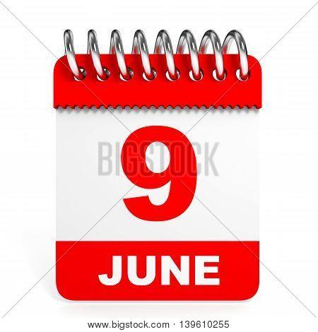 Calendar On White Background. 9 June.