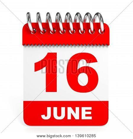 Calendar On White Background. 16 June.
