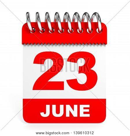 Calendar On White Background. 23 June.