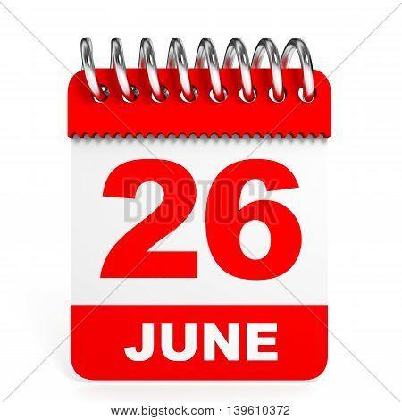 Calendar On White Background. 26 June.
