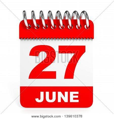 Calendar On White Background. 27 June.