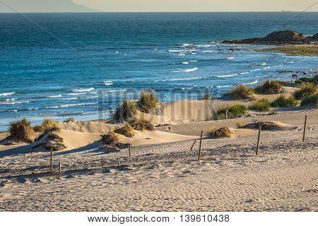 Beautiful view on beach and ocean Spain Tarifa