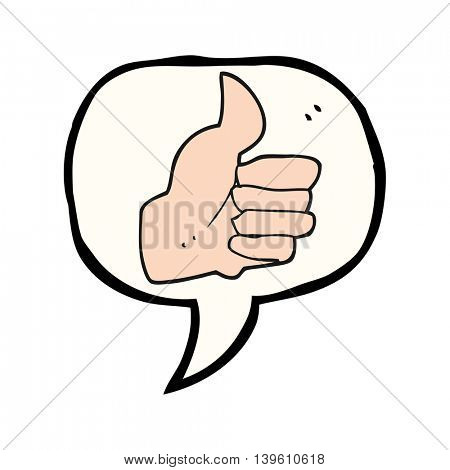 freehand drawn speech bubble cartoon thumbs up symbol