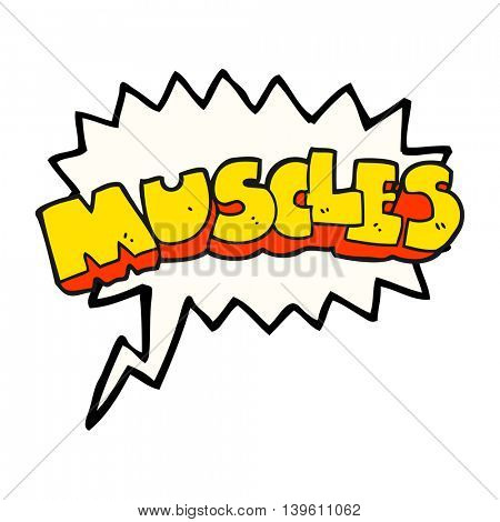 freehand drawn speech bubble cartoon muscles symbol
