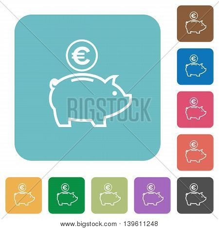 Flat Euro piggy bank icons on rounded square color backgrounds.