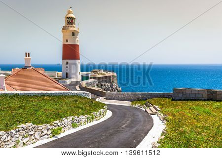 a view of the Trinity Lighthouse at Europa Point in Gibraltar and the Mediterranean sea