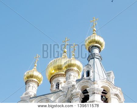 Gold Domes of the Russian Orthodox Church of Saint Maria Magdalena in Jerusalem Israel