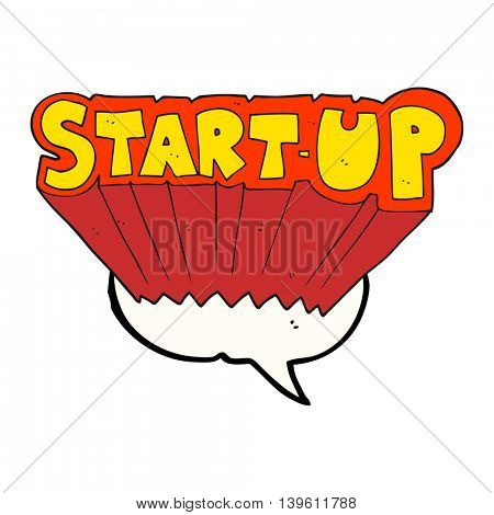 freehand drawn speech bubble cartoon startup symbol