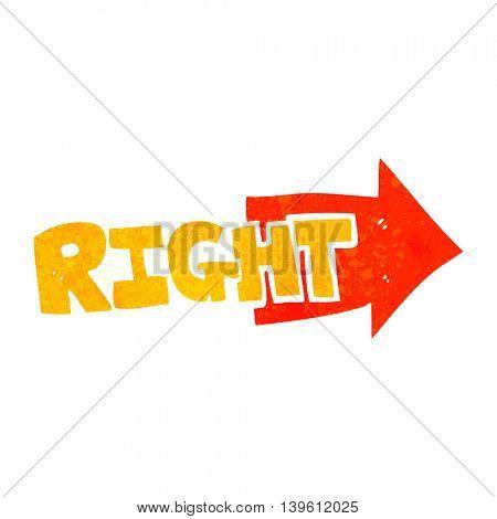 freehand retro cartoon right symbol pointing