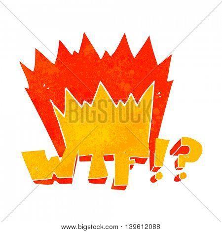 freehand drawn retro cartoon WTF symbol