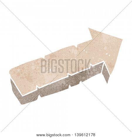 freehand retro cartoon stone pointing arrow