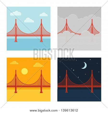 Golden Gate Bridge vector illustration set in different time and weather. Flat cartoon style.