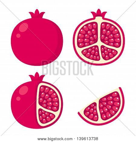 Pomegranate icon set. Cartoon illustration of whole pomegranate cut in half with skin peeled and a wedge.
