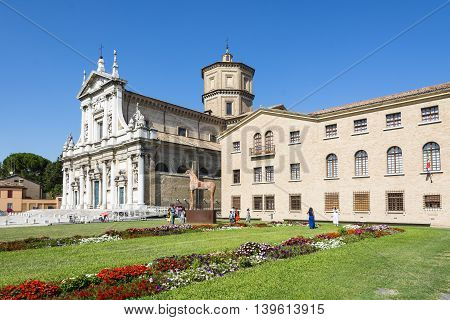 RAVENNA,ITALY-AUGUST 21,2015:People visit the Santa Maria in porto church in Ravenna-Italyduring a sunny day .