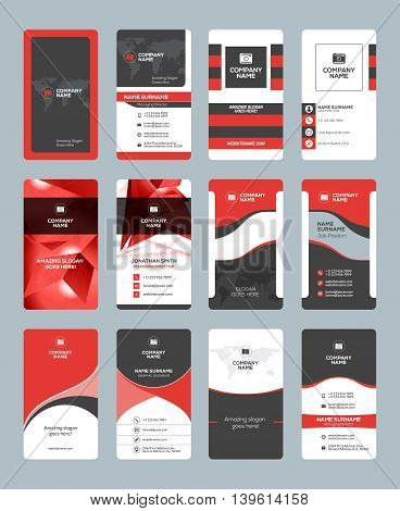 Business Card Templates. Stationery Design Vector Set. Red And Black Colors. Vertical Business Cards