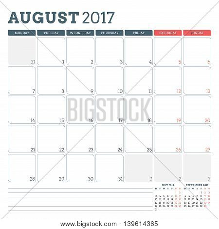 Calendar Planner Template For August 2017. Week Starts Monday. 3 Months On Page. Place For Notes. St