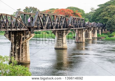 Old bridge over the River Kwai Yai is a historical attractions during World War 2 the famous of Kanchanaburi Province in Thailand
