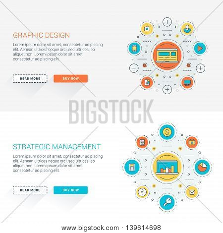 Set of flat line business website banner templates. Vector illustration. Modern thin line icons in circle. Web buttons with long shadow. Graphic design. Strategic management
