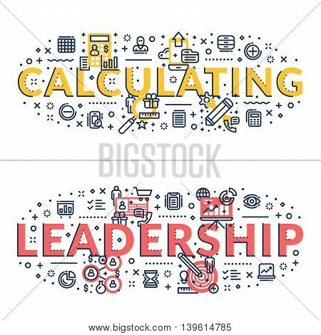 Calculating and Leadership headings titles. Horizontal colored flat vector illustration.
