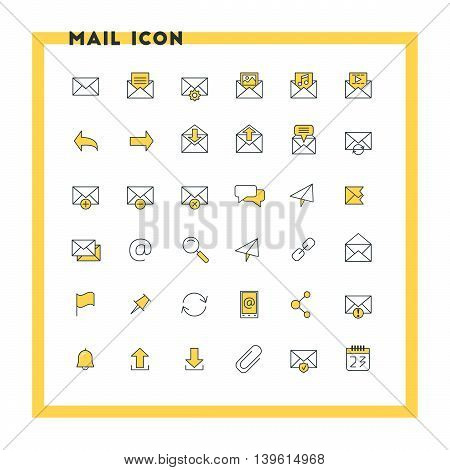 Email flat design icon set. Envelope link download calendar send. Vector icons. Yellow and black colors