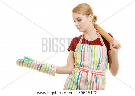 Housewife Holds Baking Rolling Pin Showing Open Palm