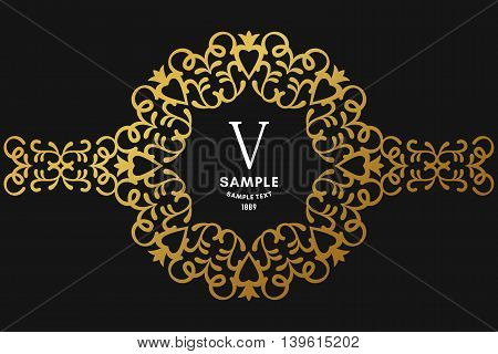 Round Luxurious Logo Frame, Golden On Black Background Vector Illustration.