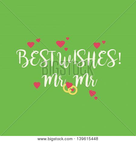 Cute wedding Best Wishes Mr Mr congratulations card for a gay couple with pink hearts and golden rings on green background.