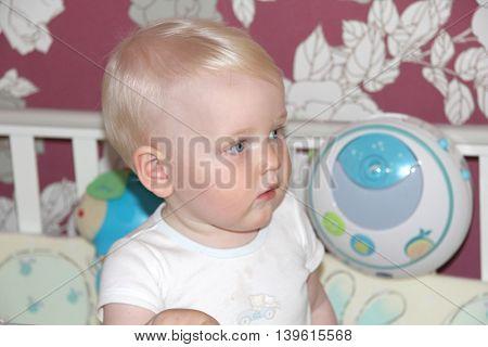 Closeup ten month  baby blonde boy