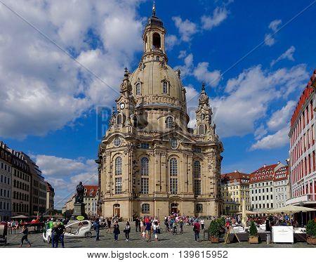 Dresden, Germany, July 9, 2016: The Frauenkirche in Dresden, germany.