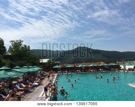 Romaia, August 26, 2015, Praid, Transylvania, Harghita County, Salted Baths in a peaceful Summer day