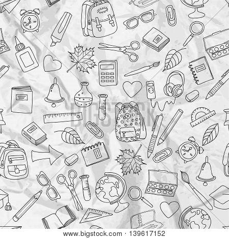 Vector Seamless Pattern With Doodle School Tools.