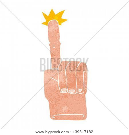 freehand retro cartoon pointing hand
