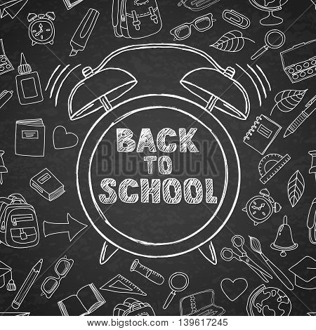 Back To School Vector Sketch Lettering And Hand Drawn Watercolor Alarm Clock.