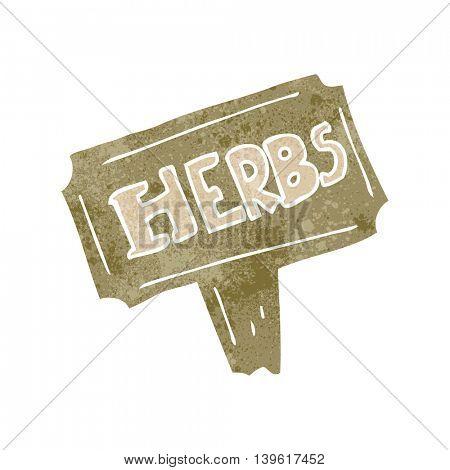 freehand retro cartoon herbs sign