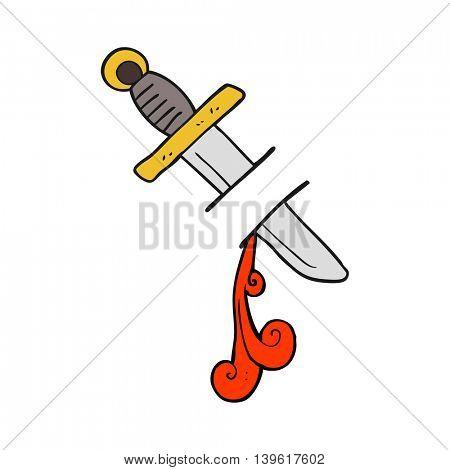 freehand drawn cartoon tattoo knife symbol