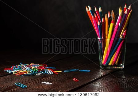 Crayons On The Table