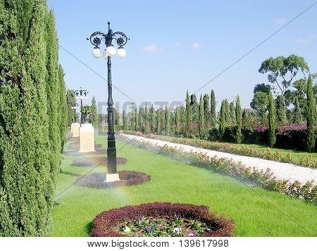 Alley in Bahai garden in Akko Israel