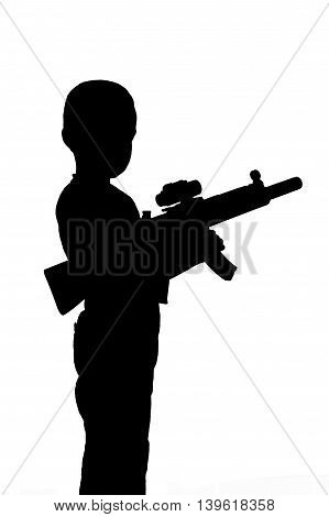 Black silhouette of a boy with a toy gun isolated on a white background. Monochrome image.