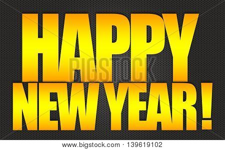 Happy new year gold text isolated on black background
